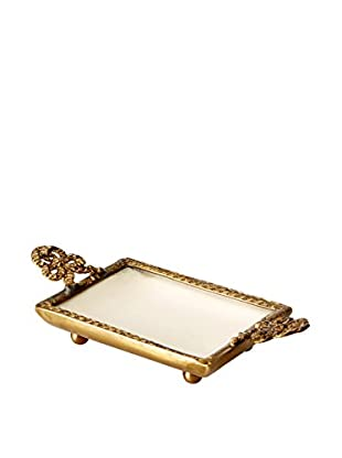 Blue Ocean Traders Small Ceramic Tray, Off White/Brass
