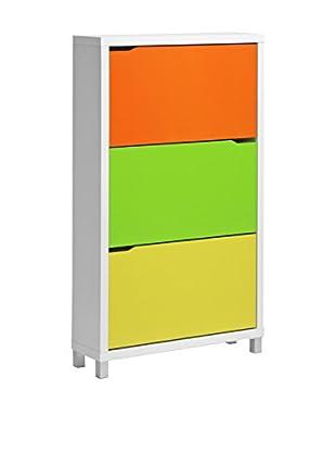 Baxton Studio Simms Modern Shoe Cabinet, Green/Orange/Yellow