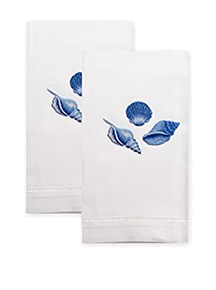 Henry Handwork Set of 2 Indigo Shell Embroidered Hand Towels, White