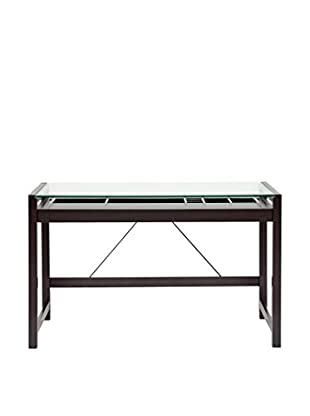 Baxton Studio Idabel Wood Desk with Glass Top, Dark Brown