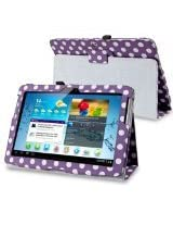 eForCity Leather Case with Stand for 10.1-Inch Samsung Galaxy Tab 2, Purple/White Polka Dot (PSAMGLXTLC41)