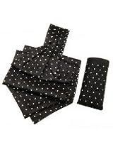 Orosilber White Dots On Black Cravat With Pocket Square Set