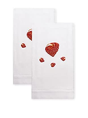 Henry Handwork Set of 2 Red Shell Embroidered Hand Towels, White