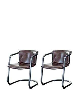 Home Philosophy Set of 2 Axl Chairs, Brown