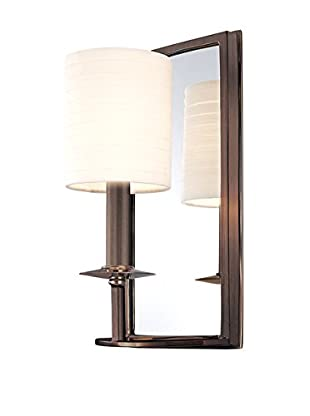 Hudson Valley Lighting Winthrop 1-Light Mirrored Wall Sconce, Distressed Bronze/Off-White