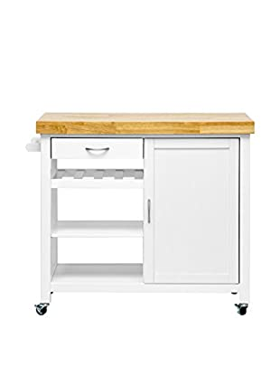 Baxton Studio Denver Kitchen Cart/Island, White/Natural