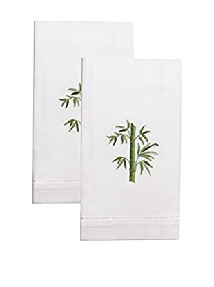 Henry Handwork Set of 2 Bamboo Embroidered Hand Towels, White