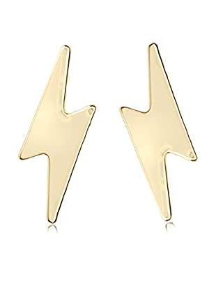 Ecru Metal Lightening Bolt Post Earrings