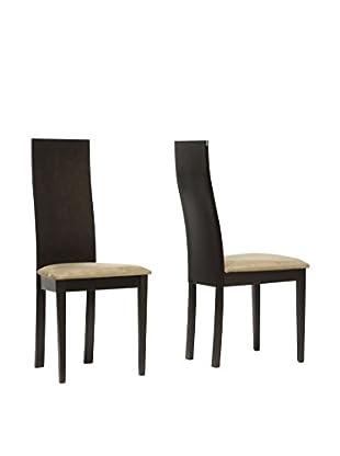 Baxton Studio Set of 2 Geneva Dining Chairs, Tan