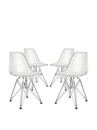 Modway Set of 4 Paris Kid's Chairs, Clear