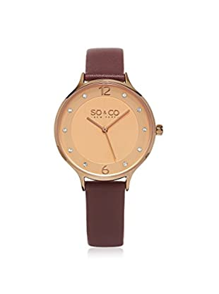 SO&CO Women's 5203.1 Madison Red/Rose Gold-Tone Leather Watch
