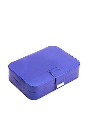 Bey-Berk Blue Leatherette 24-Section Jewelry Case