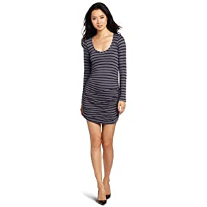 Splendid Women's Long Sleeve Scoop Stripe Dress, Shadow, X-Small
