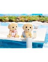 Calico Critters Yellow Labrador Dog Family Twins 6 Figure Set