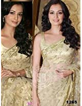 Diya Mirza Golden Chiffon Georgette Replica Saree