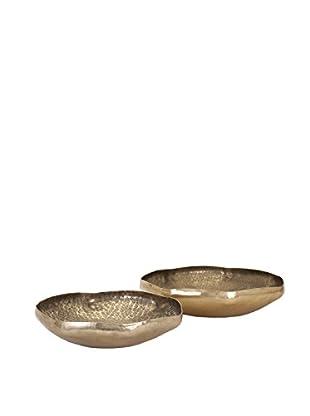 Set of 2 Valton Hammered Metal Bowls, Aluminum
