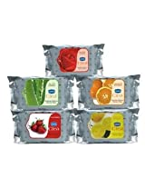 GINNI REFRESHING Facial Wipes-Rose,Aloevera,Orange,Strawberry,Lemon-5 pack (10 wipes per Pack)