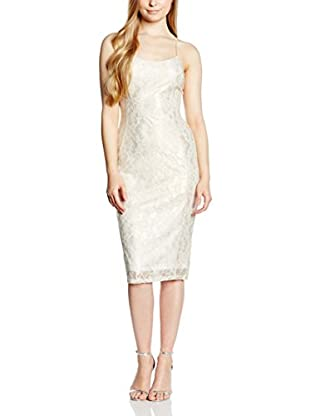 Rare London Vestido Metallic Lace Strappy Midi