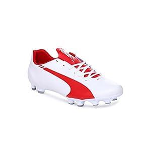 Puma Men's evoSPEED 5.3 FG White, High Risk Red and Estate Blue Football Boots - 11 UK /India(46EU)