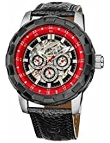 Akribos Automatic Gmt Skeleton Dial Black Leather Mens Watch Ak557Rd