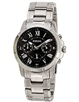 Fossil Grant FS4736 Black Round Dial Stainless Steel Strap Chronograph Watch - For Men