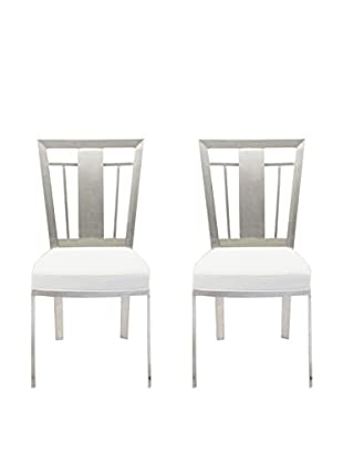 Armen Living Cleo Set of 2 Contemporary Dining Chairs, White