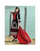 Black And Red Eid Wear Embroidered Semi Stitched Salwar Kameez Anarkali Suit & Dress