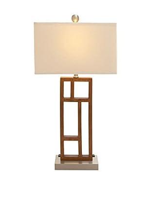 Rectangular Wood & Steel Desk Task Lamp