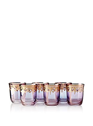 A Casa K Set of 6 Melodia 10-Oz. Engraved Crystal Double Old Fashioned Glasses, Purple/Gold