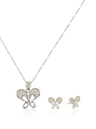 Córdoba Joyeros Conjunto de cadena, colgante y pendientes Mariposa Zirconium Diamantada