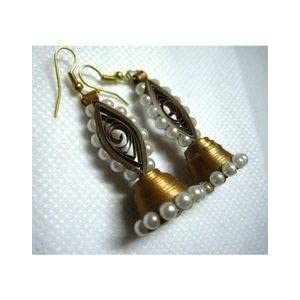 Quillings by SSE - Traditional Gold Jumka With Peral Earring