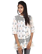 Rajrang Cotton Kurti - PTP00108 (Black And White)