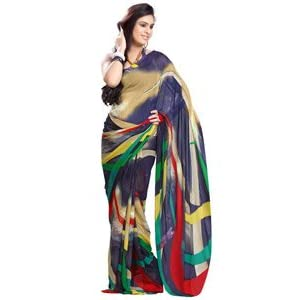 Fabdeal Women Weightless Georgette Printed Saree with Blouse Piece