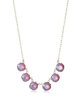 La Vie Parisienne 5 Stone Swarovski Crystal Necklace In Lavender 14K Gold Plated