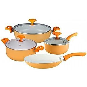 Wonderchef 4 Seasons Autumn Induction Base Cookware Set, 7-Pieces, Orange