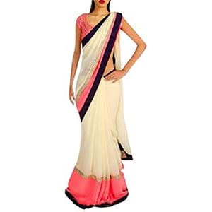 Bollywood Fashion zone saree white, pink and black