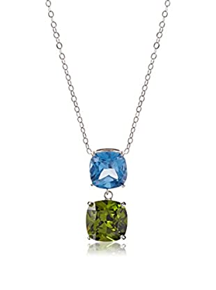 CZ by Kenneth Jay Lane Blue Double Cushion CZ Necklace