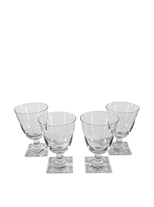 Set of 4 Square Base Water Glasses, Clear