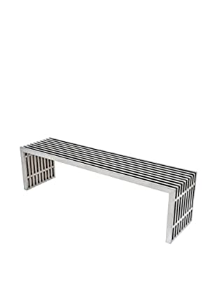 LeisureMod Eldert Gridiron Polished Stainless Steel Large Bench, Silver