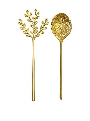 Rojo 16 Golden Lei Serving Spoons, Brass