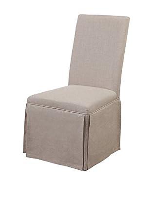 Bassett Mirror Company Skirted Parsons Chair, Natural Linen