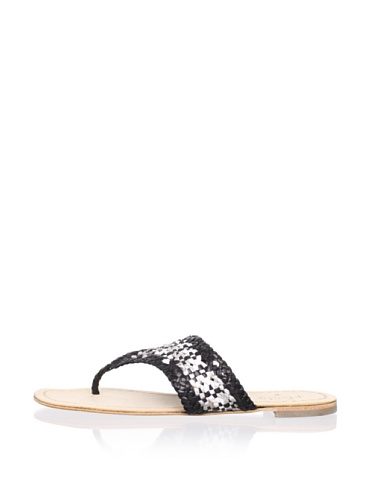 Plenty by Tracy Reese Women's Elene Thong Sandal (Black/White/Silver)