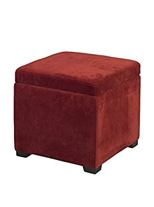 Linon Home Décor Judith Ottoman with Jewelry Storage, Red