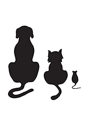 Ambiance Live Wandtattoo Dog cat and mouse schwarz