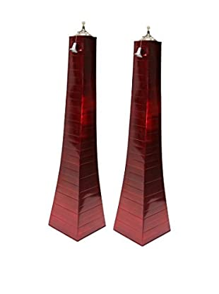 Outdoor Interiors Set of 2 Large Pyramid Oil Torches, Red