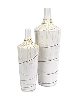 Set of 2 Curasso Retro Finish Vases