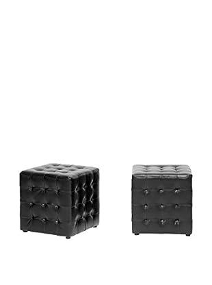 Baxton Studio Set of 2 Siskal Modern Cube Ottomans, Black