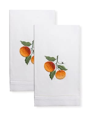 Henry Handwork Set of 2 Orange Embroidered Hand Towels, White