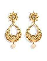 Dazzling White N Gold Dangler Earring