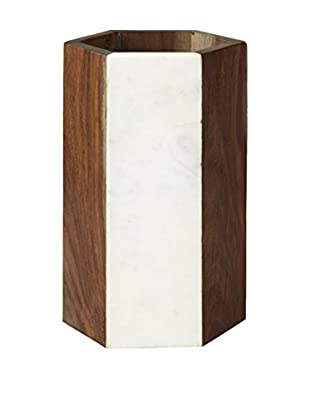 Prima Designs Hex Marble & Wood Wine Cooler, White Marble/Brown